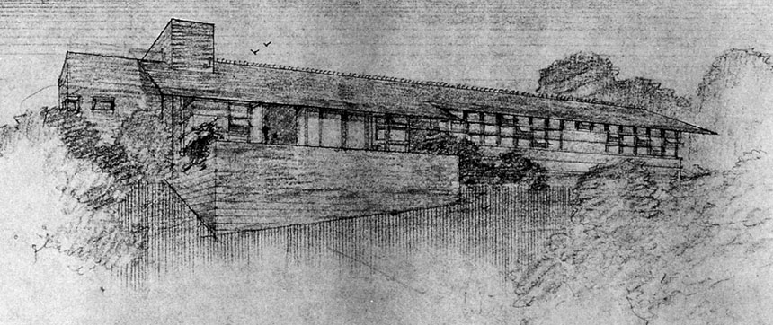 Original Van Tamelen House Perspective drawn by Frank Lloys Wright