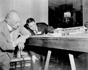 Frank Lloyd Wright and Marshall Erdman reviewing plans at the Van Tamelen House